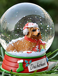 Lovely Dachshund Decorative Crystal Ball Ornament Christmas Gift for Pet Lovers