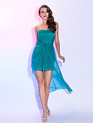TS Couture® Cocktail Party Dress - High Low Plus Size / Petite Sheath / Column Strapless Asymmetrical Chiffon with Criss Cross