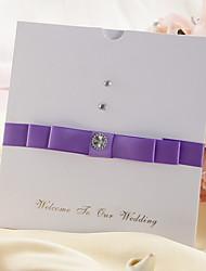 Wedding Invtation With Purple Buckle Embellishment - Set of 50