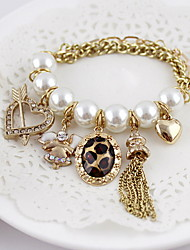 Exquisite Alloy Pearl With Rhinestone Heart Charm Bracelet for Women