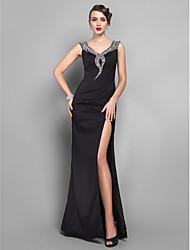 Sheath/Column Off-the-shoulder Floor-length Lycra Evening Dress (518596)
