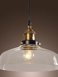 Lustre de Tecto Pendente Clássico com Abajur em Vidro - Fábrica (60W)