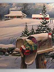 Christmas Holiday Gift Oil Painting Gifts in Mailbox Ready to Hang