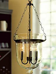 60W Retro Pendelleuchte mit 3 Leuchten und Glass Shade in Candle Funktion
