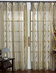 (Two Panels) Khaki Cut Flower Sheer Curtain