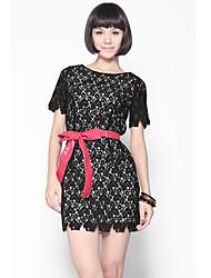 Cuello redondo largas secciones de unifo Mostrar Mujeres Encaje Vestido Negro
