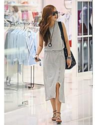 Coreia do Women'S fashiongirl Sem Zipper cinza vestido longo