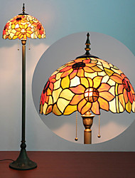 Flower Pattern Floor Lamp, 2 Light, Tiffany Resin Glass Painting Process