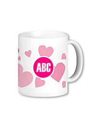 Personalized Pink Heart Pattern Mugs