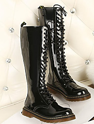MDQC Frauen schwarz PU-Leder Lace-Up Paten Leder Knee High Boots