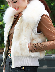 Fur Vest With Sleeveless Pillow Rabbit Fur Party/Casual Vest