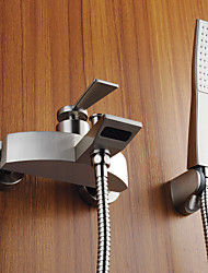 Contemporary Nickel Brushed Tub Faucet with Handshower