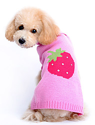 Dog Sweater Pink Dog Clothes Winter Fruit