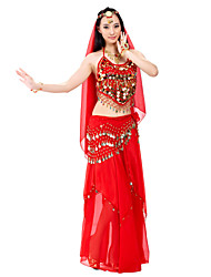 Belly Dance Outfits Women's Performance Chiffon Beading Coins Sequins 3 Pieces Top Skirt Hip Scarf