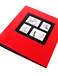 """Estilo de cuero rojo plano 4 """"* 6"""" Album de fotos (400 Pocket)"""