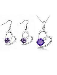 Heart Earrings & Necklace Jewelry Set