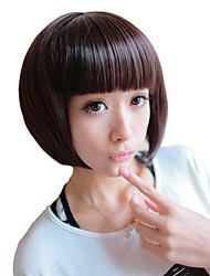 Capless Short Bob High Quality Synthetic Chestnut Brown Straight Hair Wig Full Bang