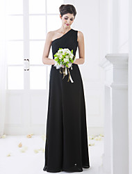 Lanting Floor-length Chiffon Bridesmaid Dress - Black Plus Sizes / Petite Sheath/Column One Shoulder