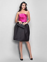 Dress - Short Plus Size / Petite A-line / Princess Strapless Knee-length Satin with Draping / Side Draping / Ruching