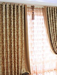 Khaki  Red Floral  Botanical Polyester Curtains Drapes