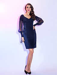 TS Couture Cocktail Party Holiday Dress - Elegant Sheath / Column V-neck Knee-length Chiffon with Pleats