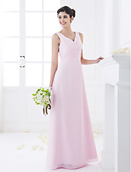 Sheath / Column V-neck Floor Length Chiffon Bridesmaid Dress with Draping Side Draping by LAN TING BRIDE®