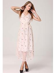 simplicidade floral v pescoço vestido de malha maxi das mulheres