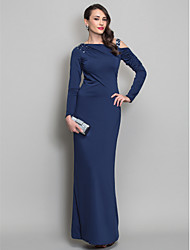 Formal Evening / Military Ball Dress - Dark Navy Plus Sizes / Petite Sheath/Column One Shoulder Floor-length Jersey