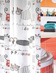 "Shower Curtain Cartoon Cat Print Thick Fabric Water-proof W78"" x L71"""