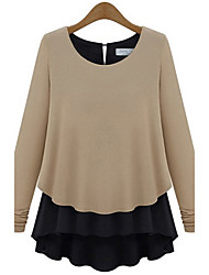 Women's Round Contrast Color Long Sleeve Blouse