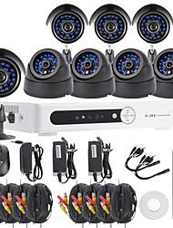 Kit 8CH canaux H.264 DVR CCTV Security System (4pcs +4 pcs Dôme / Bullet caméras avec 420TVL CMOS 1/4)