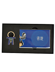 Azul personalizada ópera china Estilo Grabado Tarjetero con Llavero