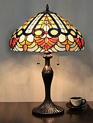 Table Lamp, 2 Light, Tiffany Characteristic Resin Glass Painting