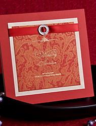 Elegant Floral Wedding Invitation With Ribbon - Set of 12