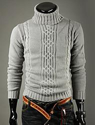 KICAI Herrenmode High Neck Sweater Revers (hellgrau)