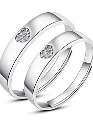 Wellwisher 925 Silver Adjustable Lovers Ring Set