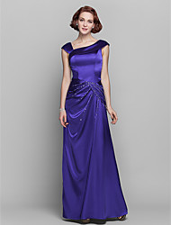 Lanting Bride® Sheath / Column Plus Size / Petite Mother of the Bride Dress Floor-length Sleeveless Stretch Satin withBeading / Side