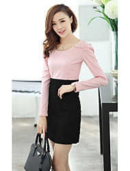 Women's Work Dress Above Knee Long Sleeve Polyester All Seasons