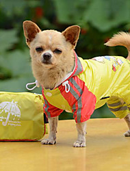 Dog Rain Coat Red Yellow Blue Dog Clothes Summer Spring/Fall Solid Waterproof