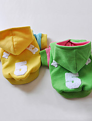Dog Coat / Hoodie Yellow / Green Dog Clothes Winter Letter & Number