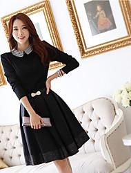 Hanmeng vestido de algodón elegante de las mujeres