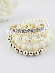 Amazing Multi Layers Pearls Rhinestone Flower Beads Women's Bracelet(More Colors)