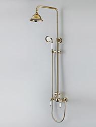 Trois trous de douche de pluie Ti-finition PVD robinet de douche