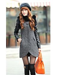 Traum Women Casual verdicken Tweed Coat (hellgrau)