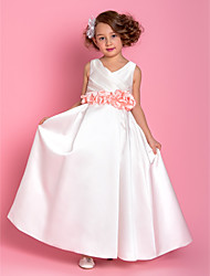 A-line Floor-length Flower Girl Dress - Satin V-neck with Flower(s) Side Draping