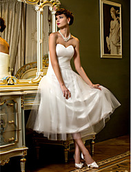Lanting Bride A-line Petite / Plus Sizes Wedding Dress-Tea-length Sweetheart Tulle