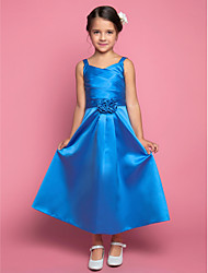 A-line Ankle-length Flower Girl Dress - Satin Spaghetti Straps with Flower(s) Criss Cross Side Draping