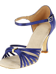 Customizable Women's Dance Shoes Latin/Ballroom Satin Customized Heel Blue