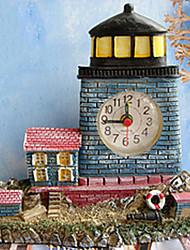 "6 ""Modern Style Mediterrâneo Oriental Tipo Farol Azul Polyresin Alarme Relógio de mesa"