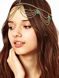 Украшение-цепочка на голову с бирюзовыми камнями